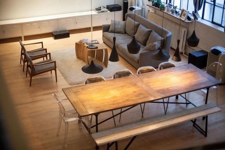 mesa bancos madera loft diseno moderno ideas