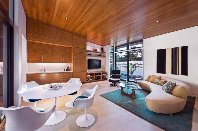mesa blanca estilo techo madera