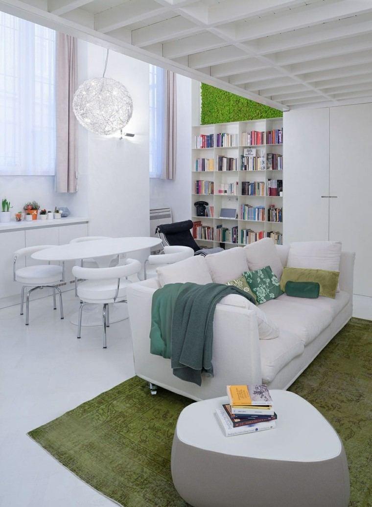 mesa blanca salon moderno comedor estanteria ideas