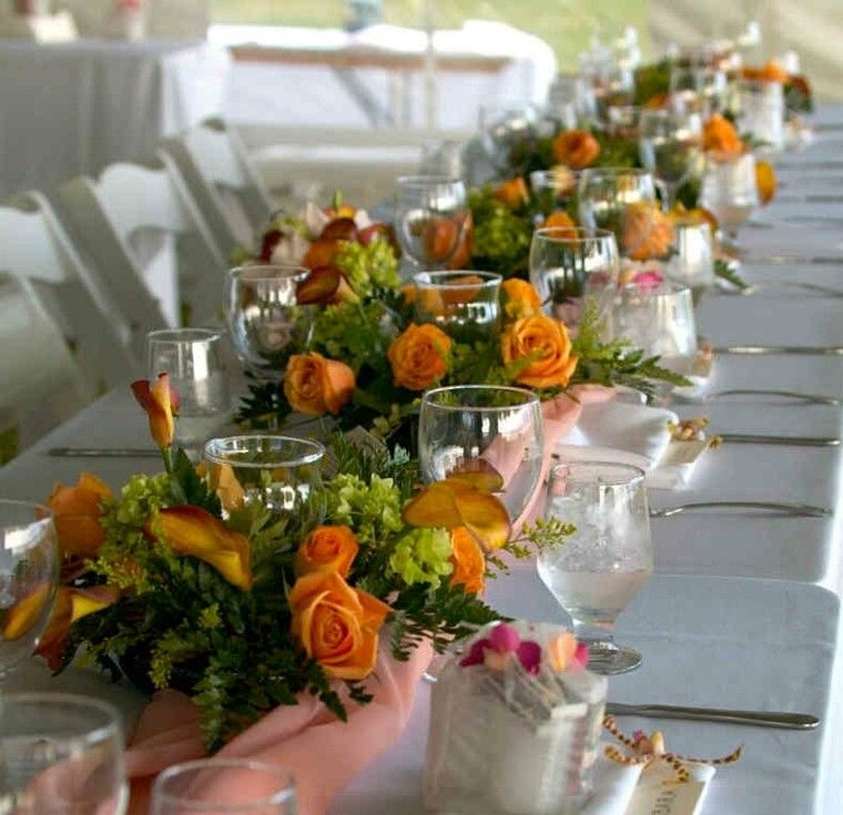 mesa boda rosas color naranja