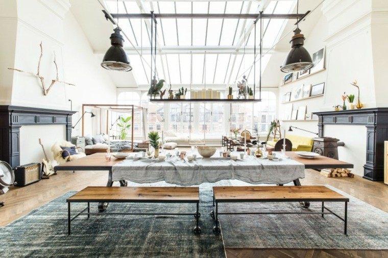 mesa grande bancos madera loft estanteria colgando techo ideas
