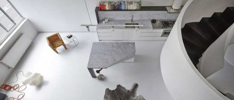 mesa gris escalera caracol loft moderno ideas