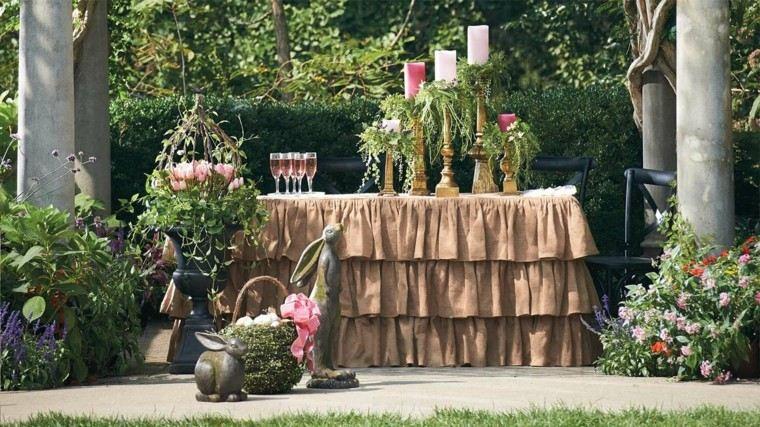 mesa jardin decoraciones otono preciosa mantel marron ideas