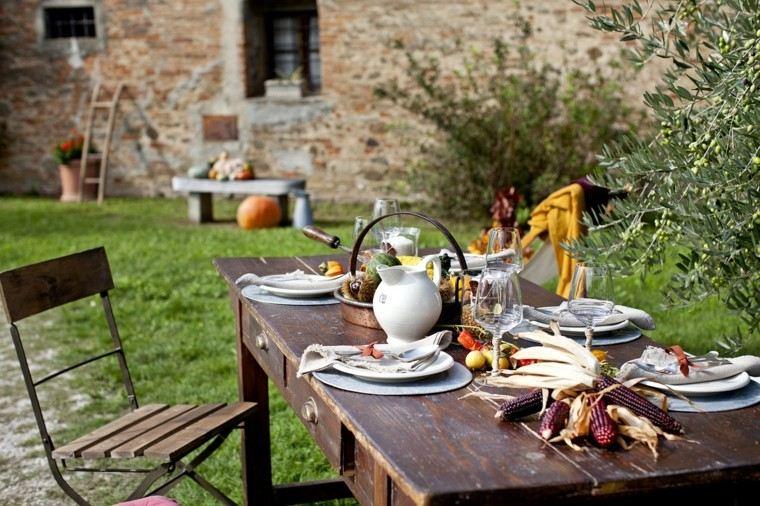 mesa jardin decoracion otoño