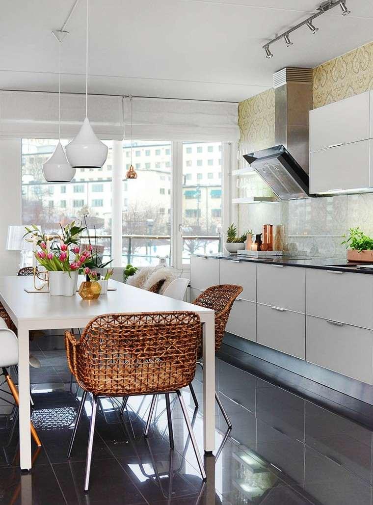 mesa lamparas jarrones blancos comedor cocina ideas