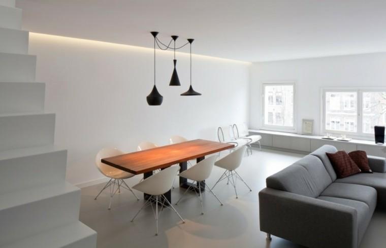 mesa moderno negras lamparas sillas