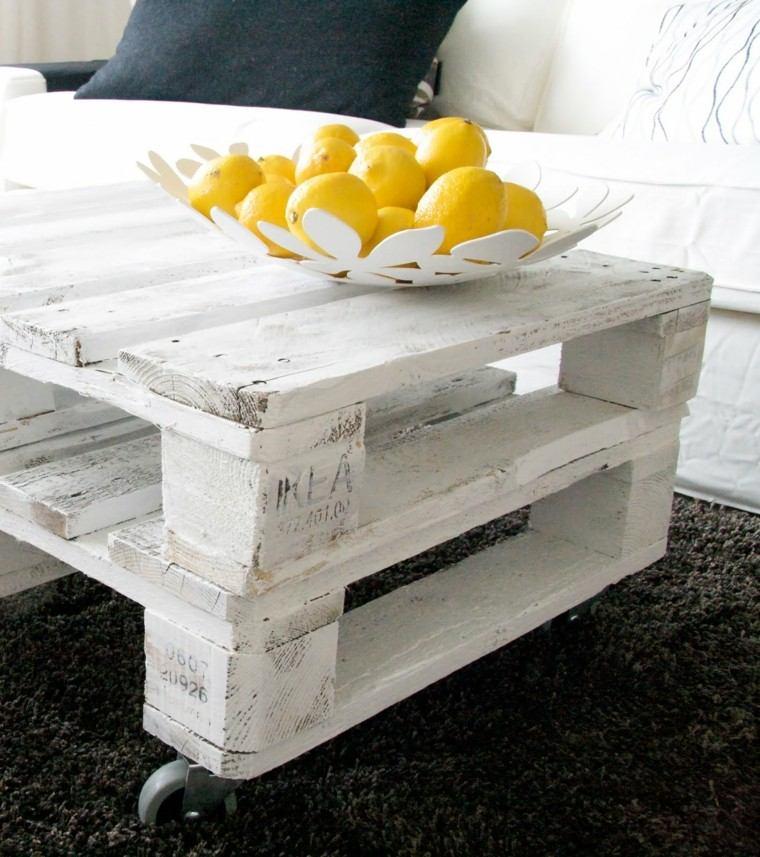 mesa pallet pintada blanco