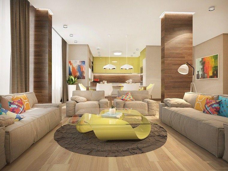 mesa preciosa salon moderno abierto cocina ideas - Colores Para Paredes Salon