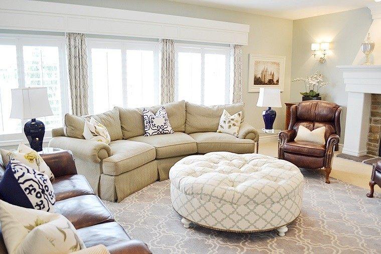 Vistoso Grande Y Redonda Muebles Tapizados Otomana Modelo - Muebles ...
