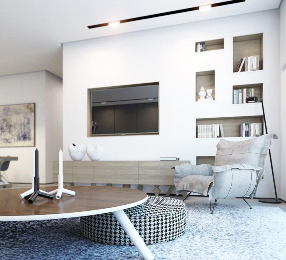 mesa redonda otomana mesa madera combinacion salon moderno ideas