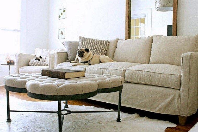 mesa redonda ototmana sofa salon colores claros precioso ideas