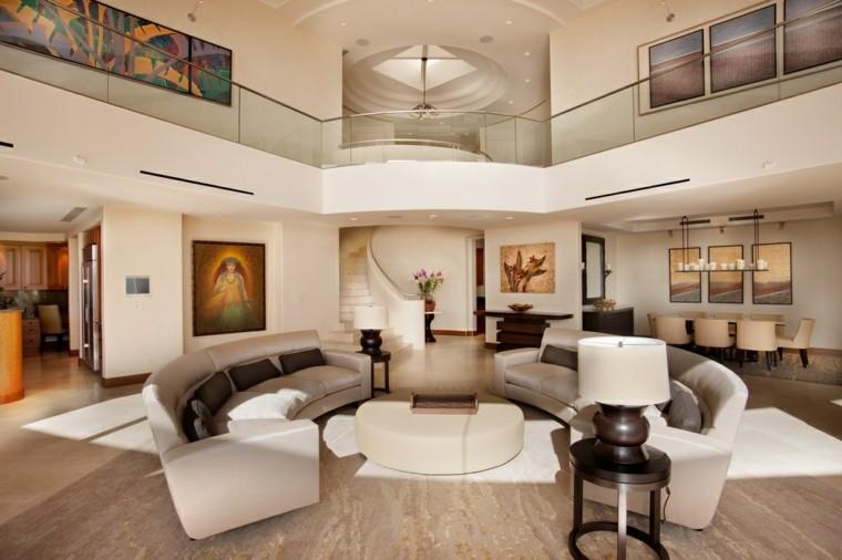 mesa redonda salon amplio moderno otomana ideas