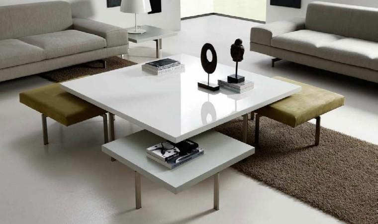 mesa salon blanca moderna taburetes