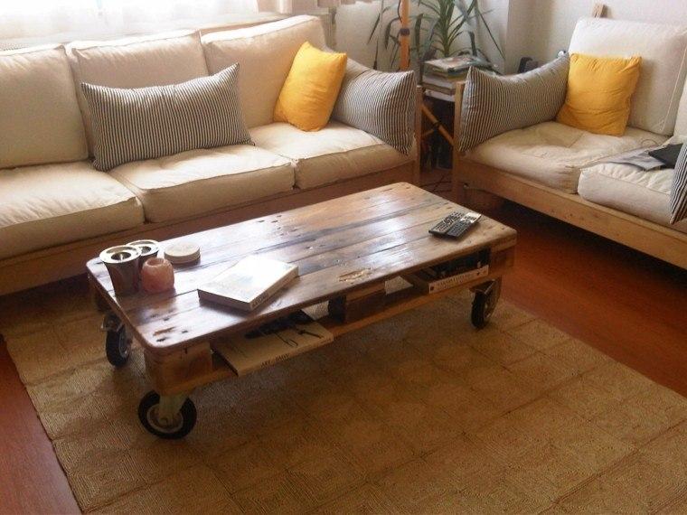 mesa salon ruedas palet madera