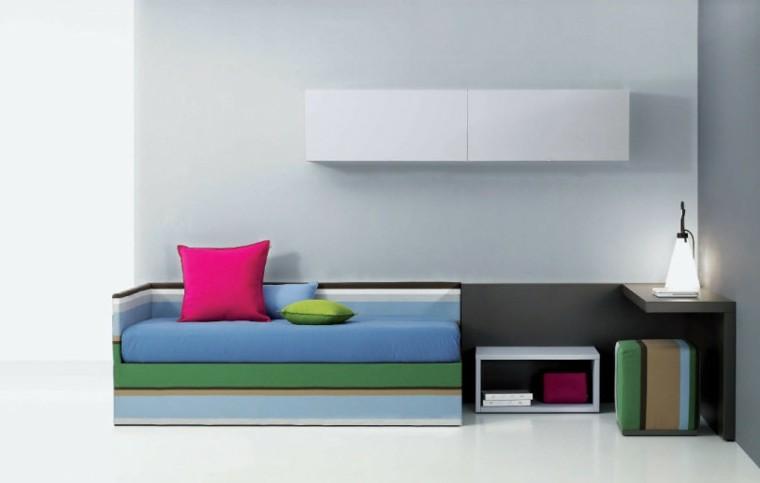 minimalista colorida moderna cama rosa