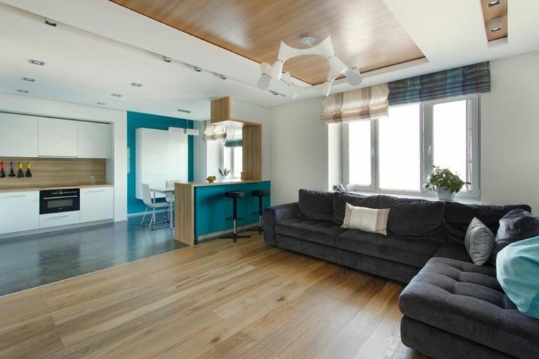 minimalitas azul madera casa natural