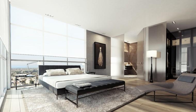 moderna cama cuero vista balcon