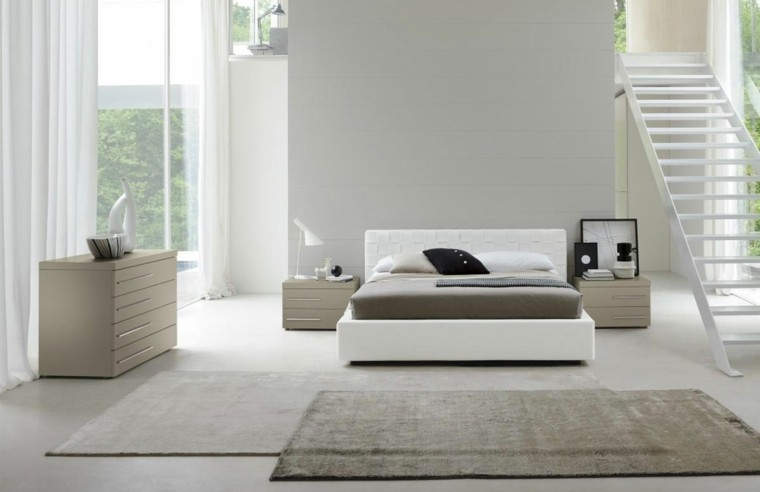 moderna dormitorio cojines alfombra gaveteros