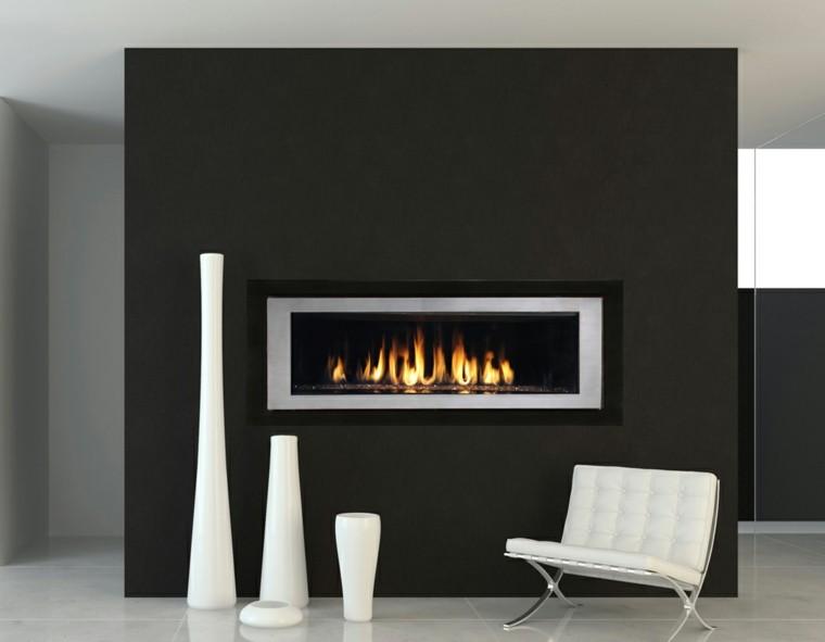 moderna gas negra chimenea blanco