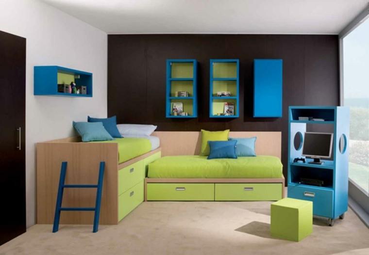 moderna minimalista habitacion niños marron