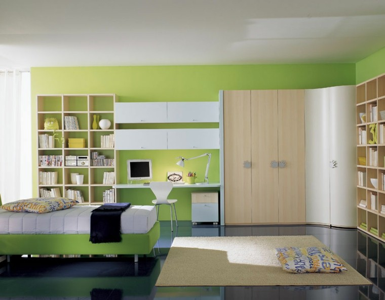 moderna verde cojine suelo paredes