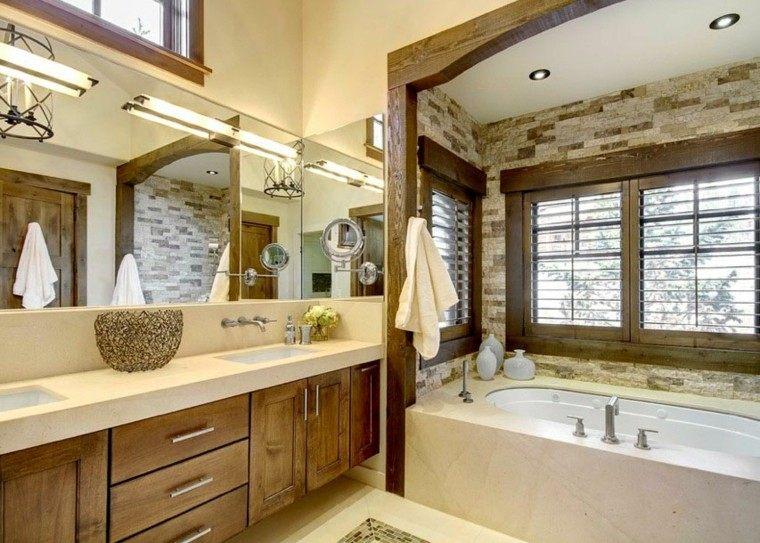 Lampara Baño Rustico:moderno amplio rustico baño lamparas