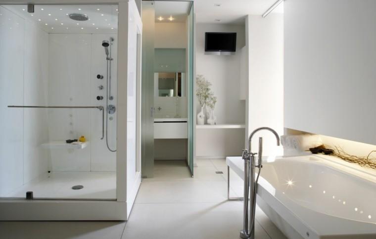 moderno blanco ducha cabina led