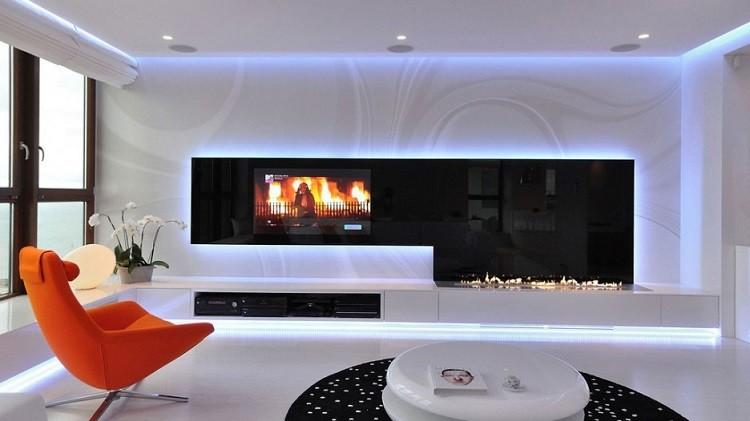 moderno naranja salon chimenea  fuego
