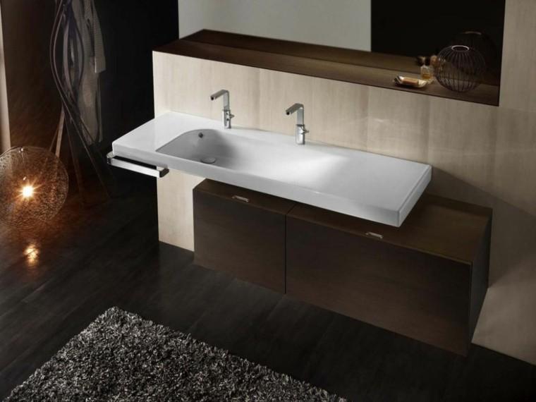 mueble doble lavabo laminado madera