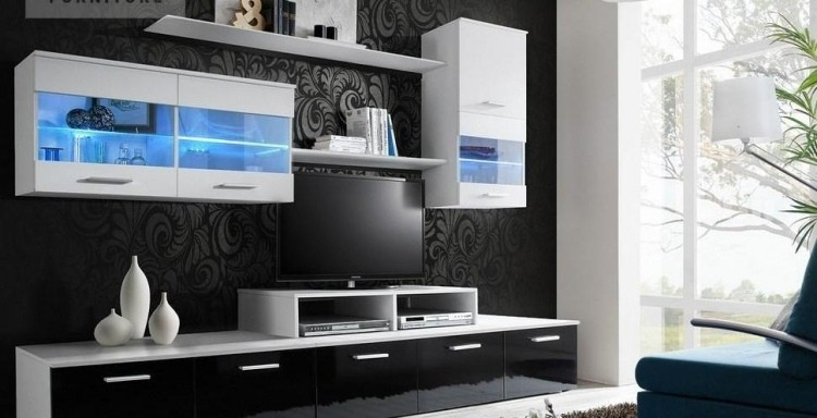 Mueble con led integrado unidades de pared asombrosas - Luces led para salon ...