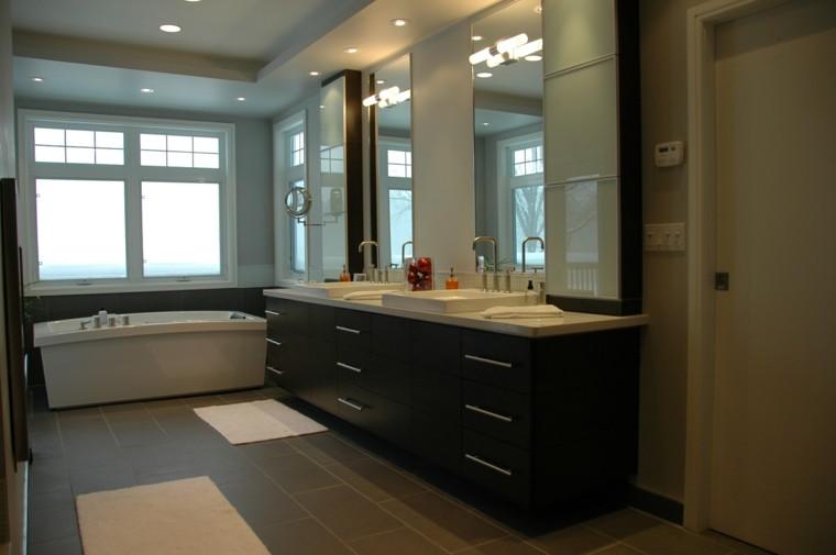 mueble madera baño marron led