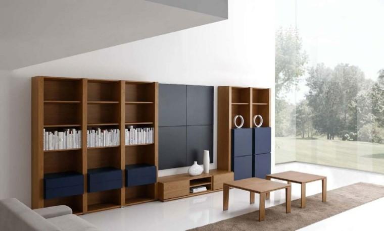 mueble madera estantes puertas azules