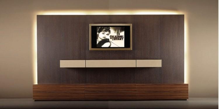 mueble mujer pared unidad televisor