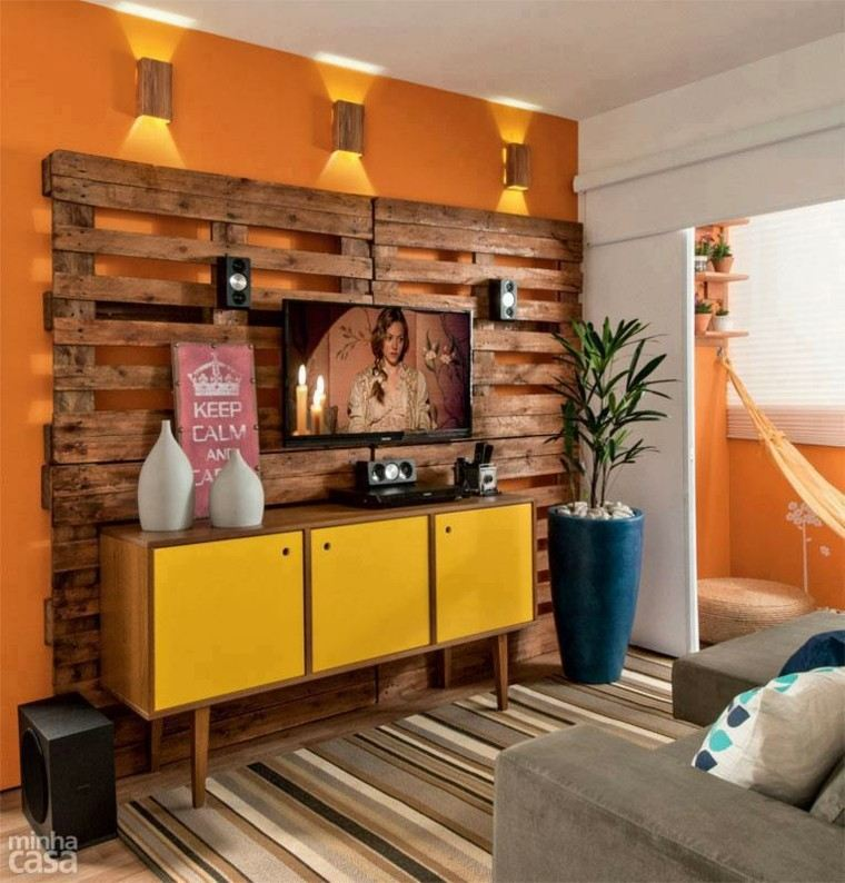 Diy muebles cincuenta ideas creativas con palets de madera for Mueble salon palets