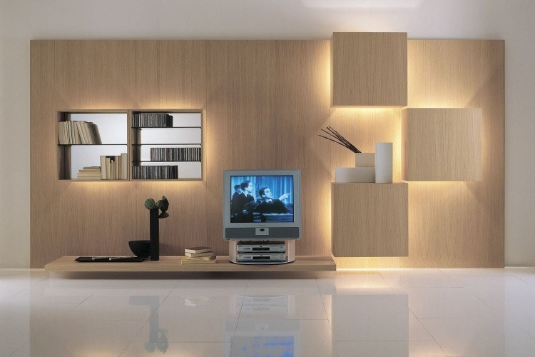 mueble con led integrado unidades de pared asombrosas. Black Bedroom Furniture Sets. Home Design Ideas