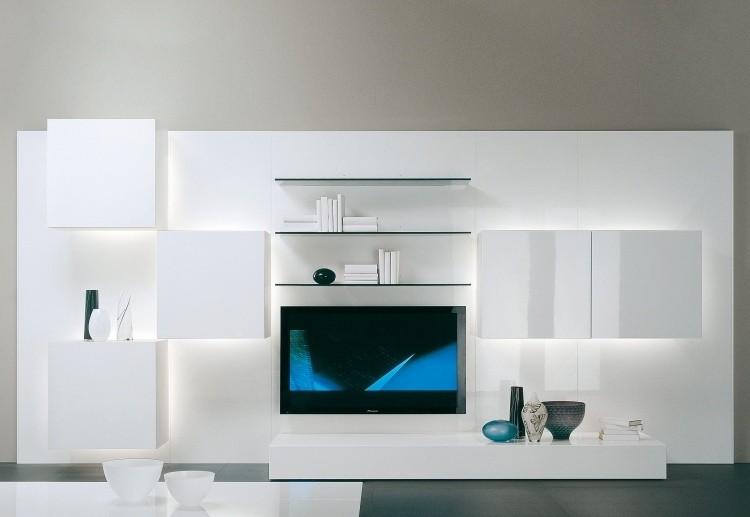 mueble unidad moderna blanca led
