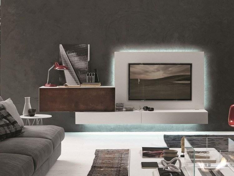 mueble unidad pared gris azul
