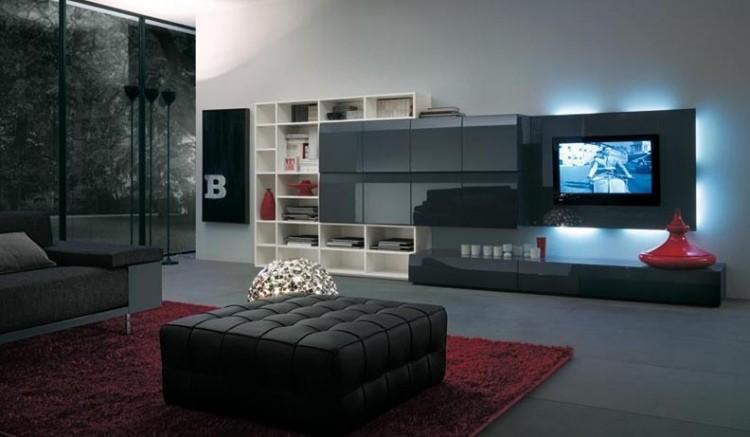 mueble unidad pared rojo alfombra