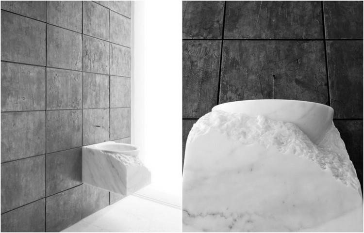 muebles baño bloques marmol blanco