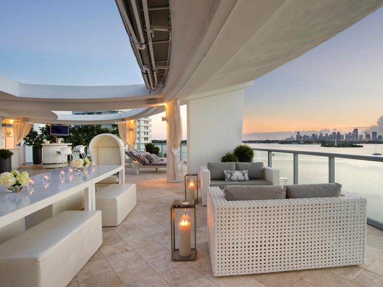 muebles blancos terraza moderna velas ideas