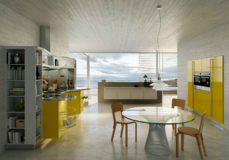muebles color amarillo cocina sillas madera mesa cristal ideas