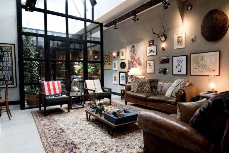 muebles cuero loft cuadros decorando pared ideas
