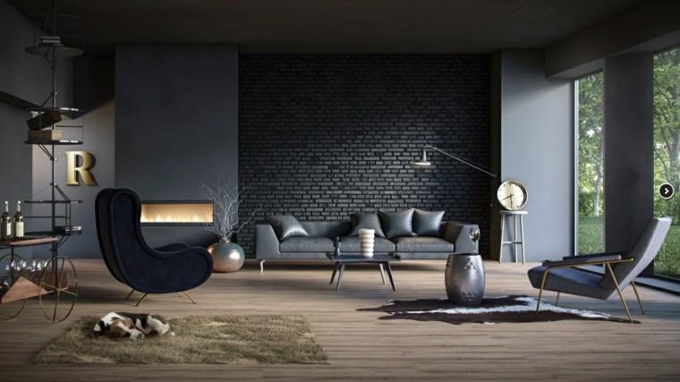muebles de salón modernos color negro elegante ideas