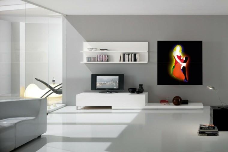 muebles de salón modernos cuadro brillante llamativo ideas