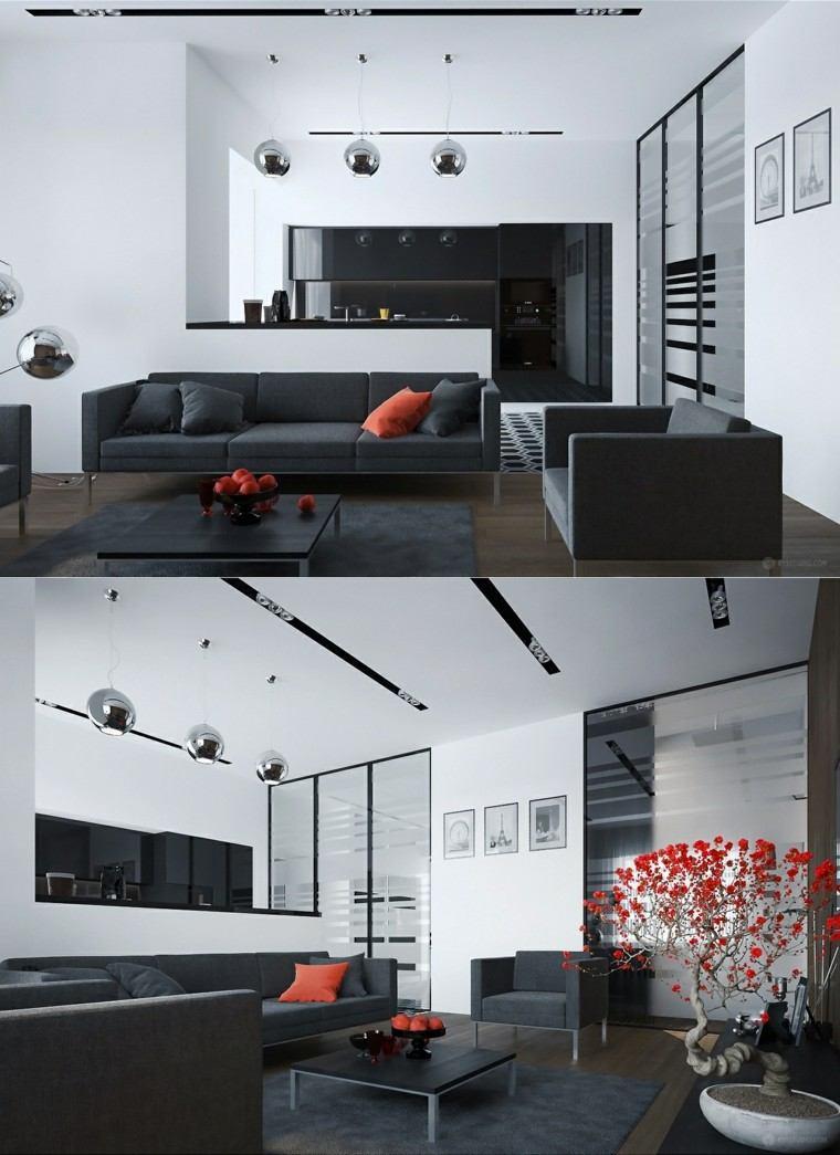muebles de salón modernos diseno blanco negro ideas