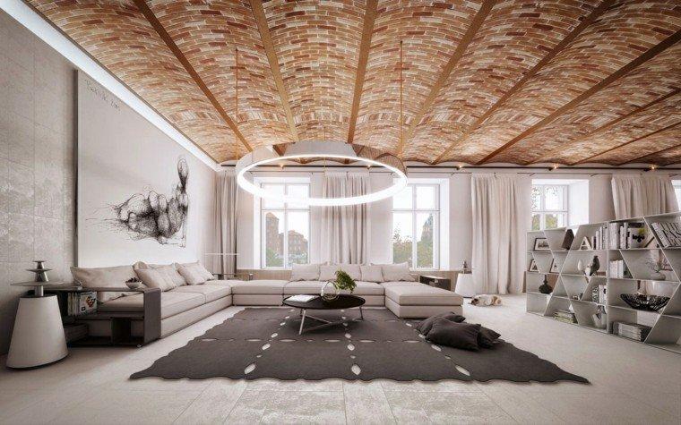 muebles de salón modernos techo ladrillo precioso ideas