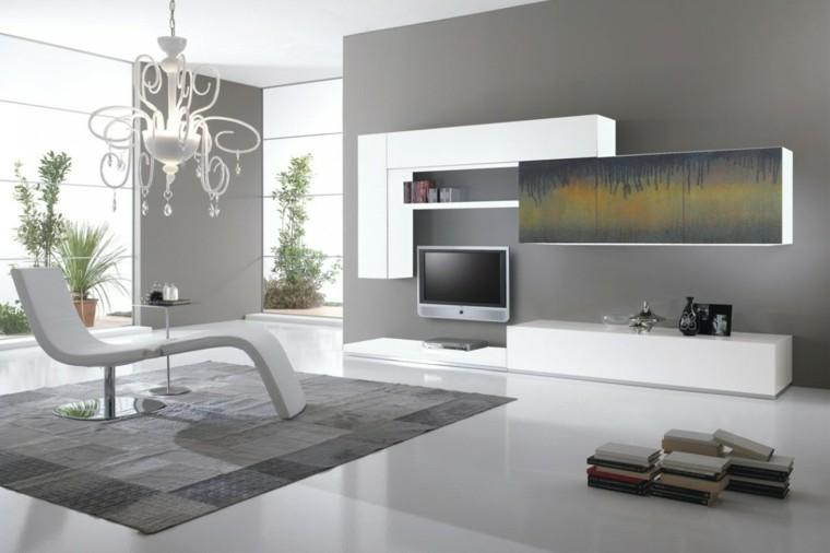 muebles de salón modernos tumbona interiores blanca ideas
