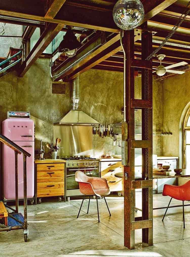 muebles estilo industrial cocina armrios madera frigorifico vintage ideas