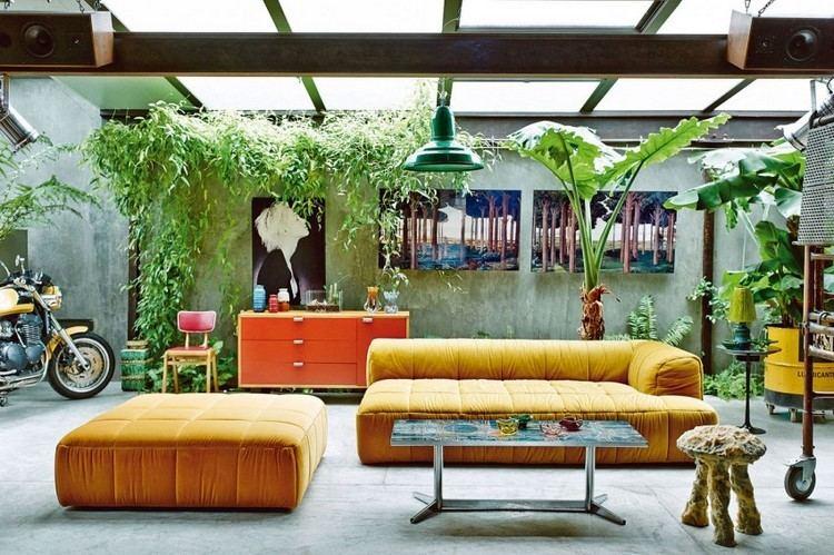 muebles estilo industrial mesa cristal sofas taburete amarillo ideas
