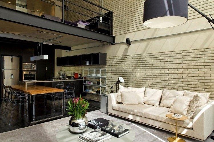 muebles estilo industrial mesa encimera madera sillas transparentes ideas